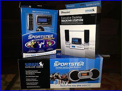 New in box Sirius Sportster Replay SP-B1, SP-TK2, and SP-Dock1 all NIB