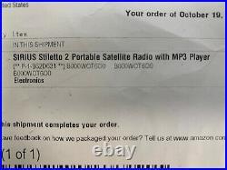 Sirius Stiletto 2 Portable Radio With SLH2 Home Kit And SLV2 Vehicle Kit (M1)